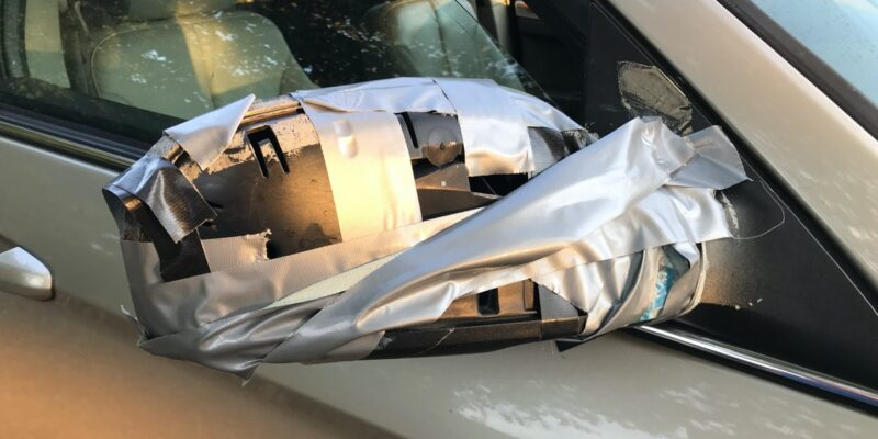 car duct tape mirror